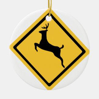 Deer Crossing Symbol Ceramic Ornament
