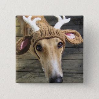 Deer dog - cute dog - whippet 15 cm square badge