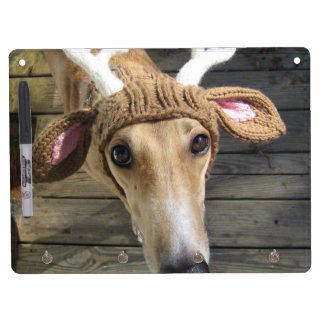 Deer dog - cute dog - whippet dry erase board with key ring holder