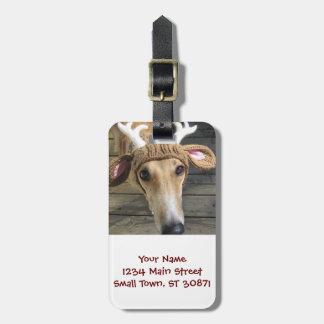Deer dog - cute dog - whippet luggage tag