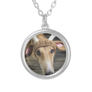 Deer dog - cute dog - whippet silver plated necklace