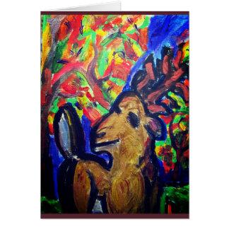 deer fall art card