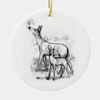 Deer Family Ceramic Ornament
