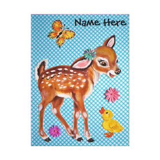 Deer Fawn Duckling Nursery Art, Personalize, Pink Canvas Print