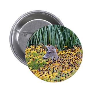 Deer Fawn in Flower Garden Button