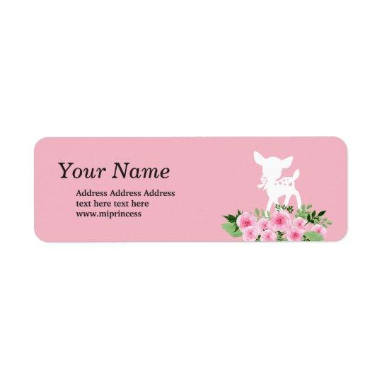 deer,  flowers floral  return address stickers