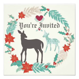 """Deer Folk Art Winter Baby Shower Invitation 5.25"""" Square Invitation Card"""