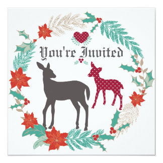 "Deer Folk Art Winter Girls Baby Shower Invitation 5.25"" Square Invitation Card"