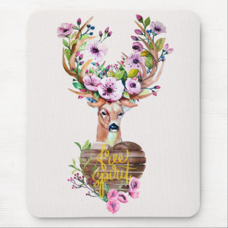 Deer Free Spirit Watercolor Design Mouse Pad