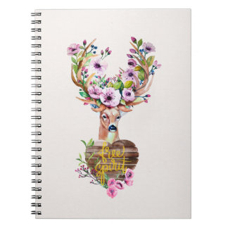 Deer Free Spirit Watercolor Design Notebook