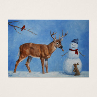 Deer & Funny Snowman Christmas Business Card