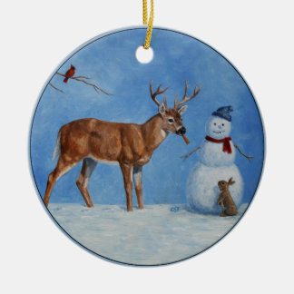 Deer & Funny Snowman Christmas Round Ceramic Decoration