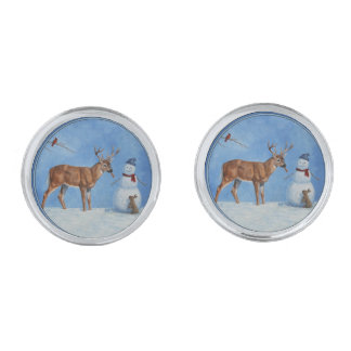 Deer & Funny Snowman Christmas Silver Finish Cuff Links