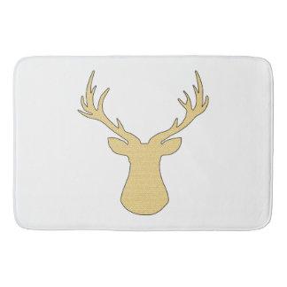 Deer - geometric pattern - beige and white. bath mat