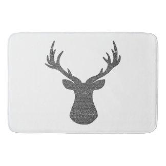 Deer - geometric pattern - black and white. bath mat