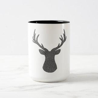 Deer - geometric pattern - black and white. Two-Tone coffee mug