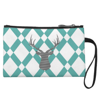 Deer - geometric pattern - blue and white. wristlet