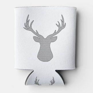 Deer - geometric pattern - gray and white. can cooler