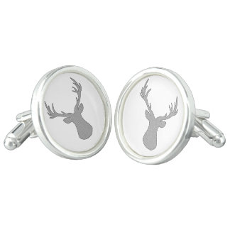 Deer - geometric pattern - gray and white. cufflinks