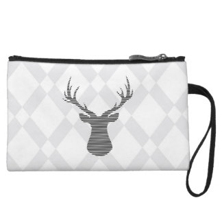 Deer - geometric pattern - gray and white. wristlet