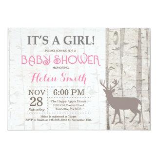 Deer Girl Baby Shower Invitation Rustic Woodland