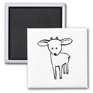 Deer? Goat? Cute little horned animal line art Square Magnet