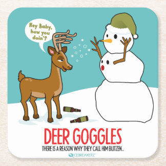 DEER GOGGLES FUNNY CHRISTMAS COASTERS