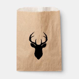 Deer Head Antlers Rustic Country Modern Favor Favour Bag