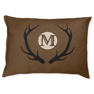 Deer Head Antlers Rustic Country Modern Monogram Pet Bed