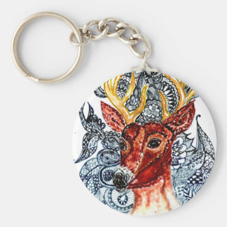 Deer Head Art01 Basic Round Button Key Ring