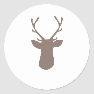 Deer Head Classic Round Sticker