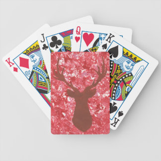 Deer Head Deer Silhouette Red Camo Playing Cards