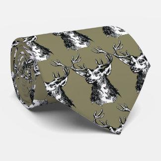 Deer Head Drawing Tie