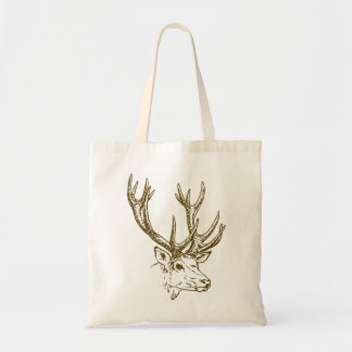 Deer Head Illustration Graphic Budget Tote Bag
