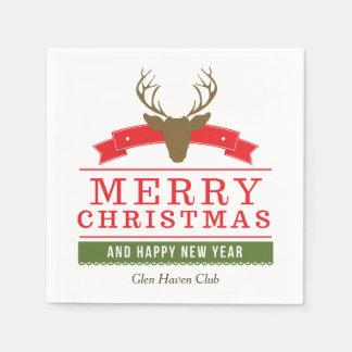 Deer Head Merry Christmas Disposable Serviette