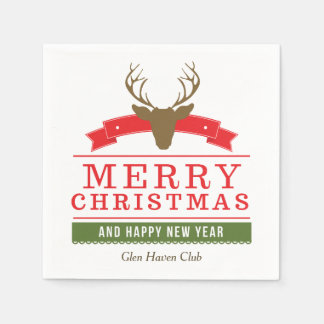 Deer Head Merry Christmas Paper Serviettes