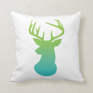 Deer Head Modern Ombre Watercolor Green and Blue Cushion