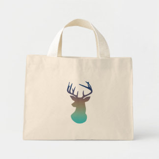 Deer Head Modern Ombre Watercolor Navy & Aqua Blue Mini Tote Bag