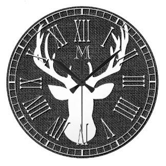 Deer Head Monogram Charcoal Burlap Wallclock