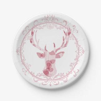Deer Head Pink Wood Leaves Fancy Frame Plate
