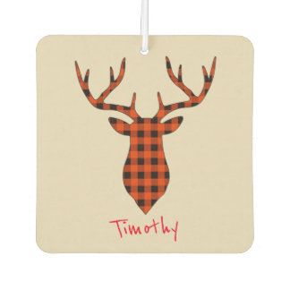 Deer Head Plaid on Tan Background Customize Car Air Freshener