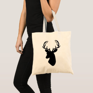 Deer Head Silhouette In Black Tote Bag