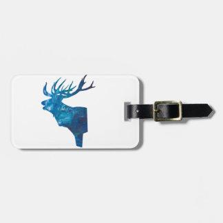 deer head stag in blue luggage tag