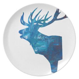 deer head stag in blue plate