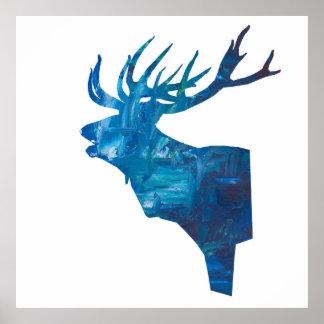deer head stag in blue poster