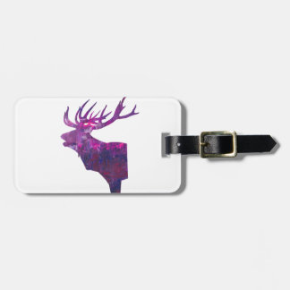 Deer head stag in lilac luggage tag