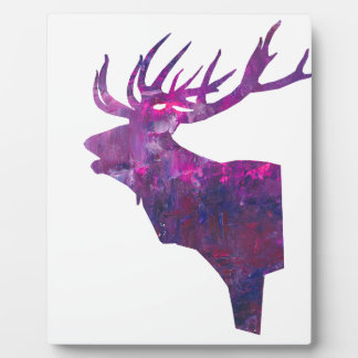 Deer head stag in lilac plaque