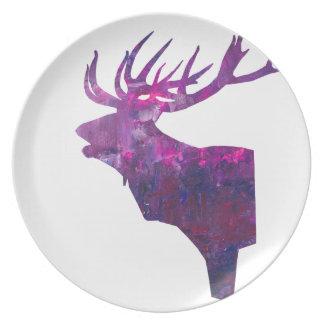 Deer head stag in lilac plate