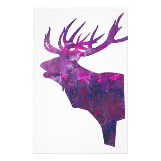 Deer head stag in lilac stationery