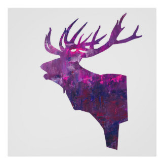 deer head stag  in pink lilac poster